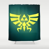 triforce Shower Curtains featuring Zelda Triforce by WaXaVeJu