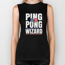 Ping Pong Gift for Table Tennis Wizards, Players and Bat and Ball Fans Biker Tank