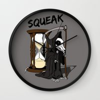 discworld Wall Clocks featuring The Death Of Rats II by kat stark