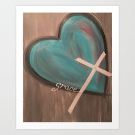 Grace Heart Cross Art Print