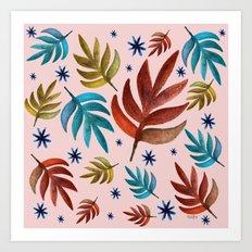 Stars and leafs Art Print
