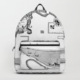 Historical Map of New York City (1664) BW Backpack