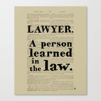 lawyer Canvas Prints featuring Lawyer Definition by Blackacre Studios