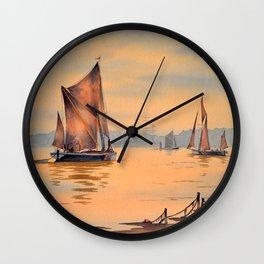 Thames Barges At Greenwich London Wall Clock