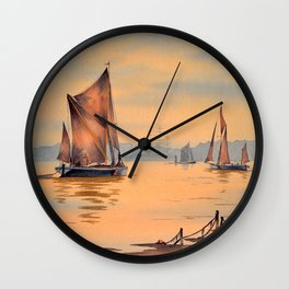 Thames Barges At Greenwich London Wall Clock