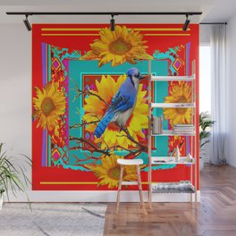 Decorative Colorful  Ornate Red-Blue Jay Sunflowers Wall Mural