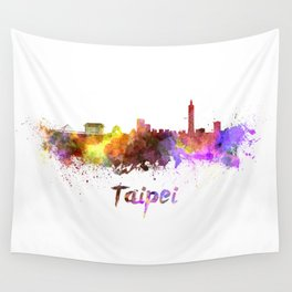 Taipei skyline in watercolor Wall Tapestry