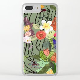 Colorful Blossom Mix Floral Pattern Clear iPhone Case