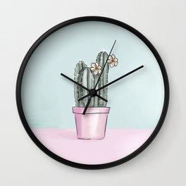 Pastel Cactus Wall Clock