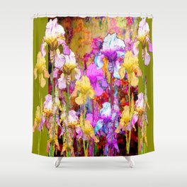MIXED IRIS FLORAL AVOCADO ART DESIGN Shower Curtain
