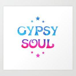 Gypsy Soul Mystical Stars Ombre Tie Dye Blue Pink Art Print