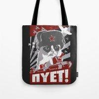 soviet Tote Bags featuring grumpy soviet by tshirtsz