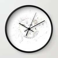 sun and moon Wall Clocks featuring Sun & Moon by Stephany Moreno