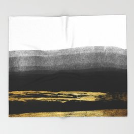 Black & Gold Stripes on White - Mix & Match with Simplicty of life Throw Blanket