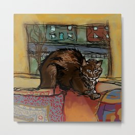 Brown Cat Nap Metal Print