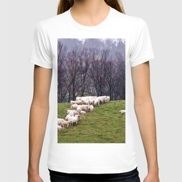 Cattle Eating Hay on a Hill T-shirt