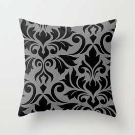 Flourish Damask Art I Black on Gray Throw Pillow