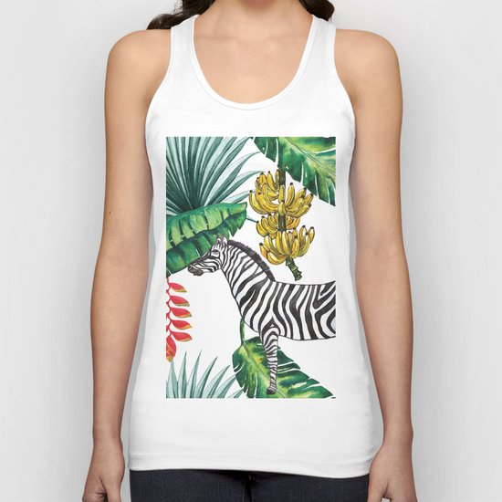 watercolor banana leaves with zebra Unisex Tank Top