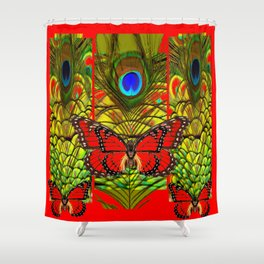 RED MONARCH BUTTERFLIES LIME COLOR PEACOCK ART Shower Curtain