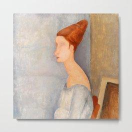 "Amedeo Modigliani ""Portrait of Jeanne Hébuterne"" Metal Print"