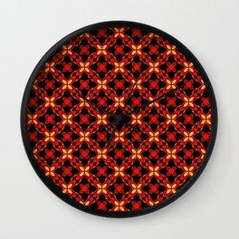 Gold Red Christmas Star Mosaic Pattern Wall Clock