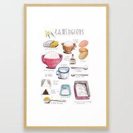 illustrated recipes: lamingtons Framed Art Print