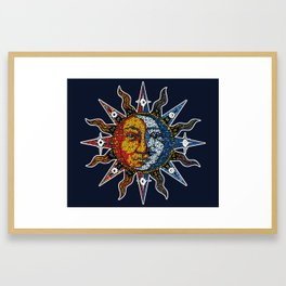 Celestial Mosaic Sun and Moon Framed Art Print