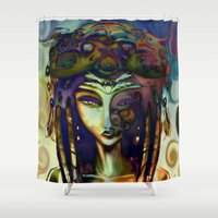 alchemy Shower Curtains featuring Psychedelic Alchemy by Ayula