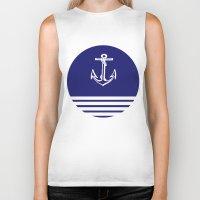 nautical Biker Tanks featuring Nautical Stripe by KayJay