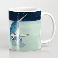 banjo Mugs featuring Narwhal's Aquarelle - Narwhal Plays Banjo by Prelude Posters