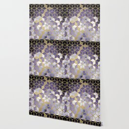 Shades Of Purple Cubes Pattern Wallpaper