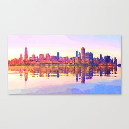 Water color painting of Chicago skyline Canvas Print