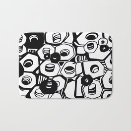 the nuts and bolts of it, graphic, minimal, industrial, monochrome Bath Mat