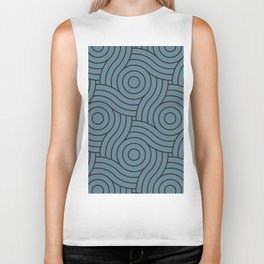 Circle Swirl Pattern Blue, Inspired By Behr's Blueprint Color of the Year S470-5 Biker Tank