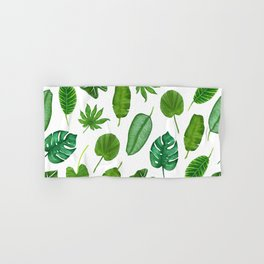 Tropical Palm Monstera Leaves Watercolor Pattern | Jungle Leaves | Tropical design Hand & Bath Towel