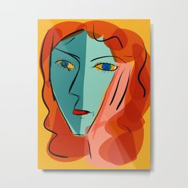 Blue girl on yellow background Metal Print