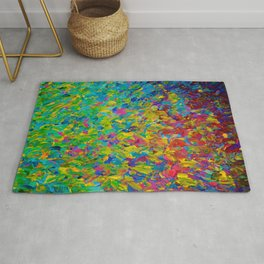 RAINBOW FIELDS - Colorful Abstract Acrylic Painting Ocean Waves Blue Teal Magenta Nature Fine Art Rug