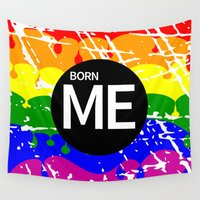 politics Wall Tapestries featuring Freedom flag Rainbow Born Me by mailboxdisco