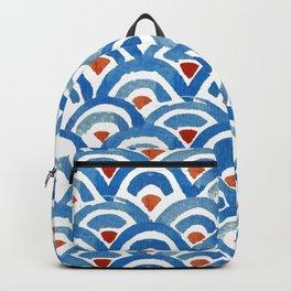 Japanese seigaiha ocean wave watercolor illustration pattern Backpack