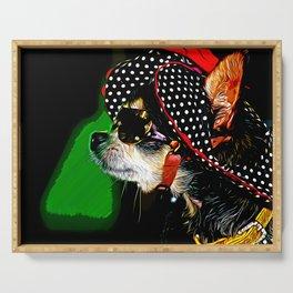 classy chihuahua dog lady vector art Serving Tray