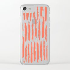 Vertical Dash Deep Coral on White Clear iPhone Case