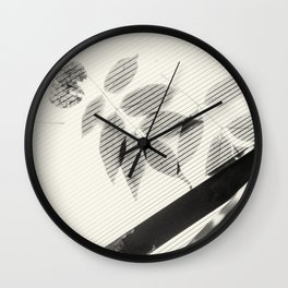 Forgotten Leaves on Plastic Roof Abstract Wall Clock