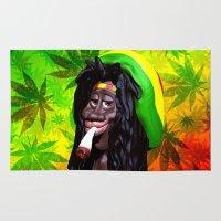 marijuana Area & Throw Rugs featuring Rastaman Marijuana Caricature 3d by BluedarkArt