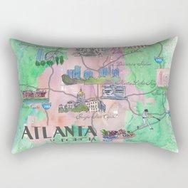 Atlanta Favorite Map with touristic Top Ten Highlights Rectangular Pillow