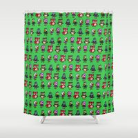 animal crossing Shower Curtains featuring Animal Crossing Design 4 by Caleb Cowan