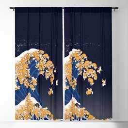 Shiba Inu The Great Wave in Night Blackout Curtain