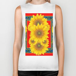 RED-TEAL DECO YELLOW SUNFLOWERS ART Biker Tank