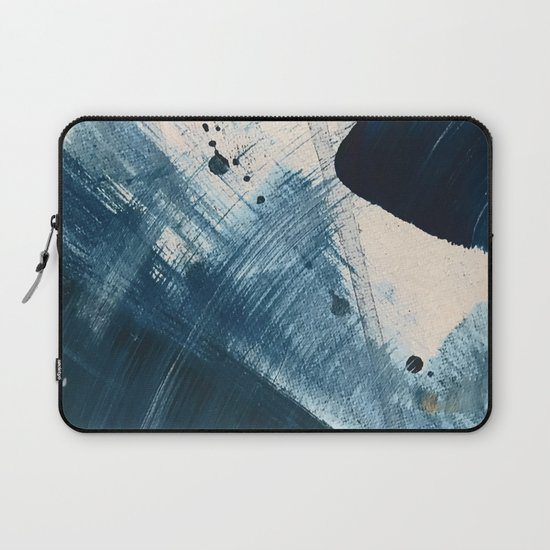 Against the Current [2]: A bold, minimal abstract acrylic piece in blue, white and gold by blushingbrushstudio