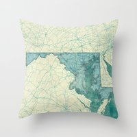 maryland Throw Pillows featuring Maryland State Map Blue Vintage by City Art Posters