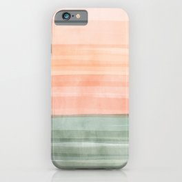 Soft Green Waves on a Peach Horizon, Abstract _watercolor color block iPhone Case